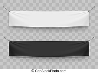 Black And White Folded Textile Banners Template