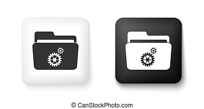 Black and white Folder settings with gears icon isolated on white background. Concept of software update, transfer protocol, router, teamwork tool management. Square button. Vector