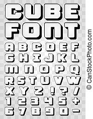 Black and white font 3d on a transparent background.
