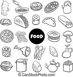 black and white food objects big set cartoon illustration