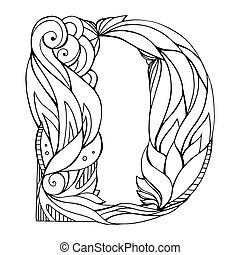 Black and white freehand drawing capital letter D with floral doodle pattern. Vector element for your design