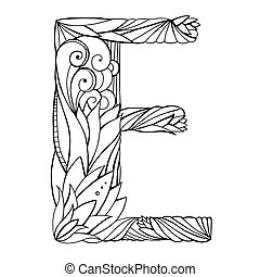 Black and white freehand drawing capital letter E with floral doodle pattern. Vector element for your design