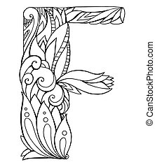 Black and white freehand drawing capital letter F with floral doodle pattern. Vector element for your design