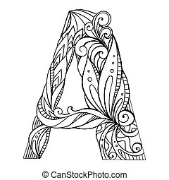Black and white freehand drawing capital letter A with floral doodle pattern. Vector element for your design