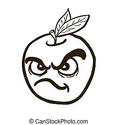 black and white freehand drawn angry apple