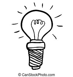 black and white freehand drawn cartoon lightbulb
