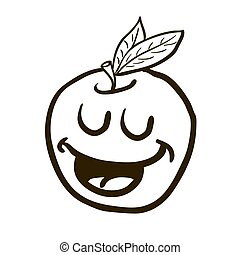 black and white freehand drawn happy apple