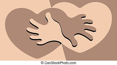 Black and White Friendship - Vector illustration of an...