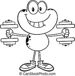 Black And White Frog With Dumbbells