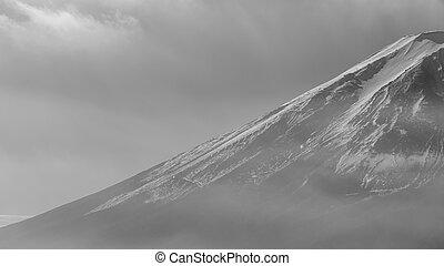 Fuji mountain hide in cloudy sky
