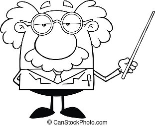 Black And White Funny Scientist Or Professor Holding A ...
