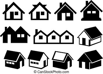 Black and White Gabled Roof House Icon Set - Vector...
