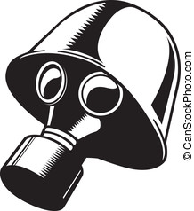 Black and White Gas Mask - This is a vector illustration of...