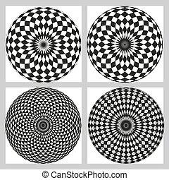 Black and white geometric circular pattern.