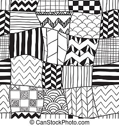 Geometric Hand-drawn Abstract Seamless Background