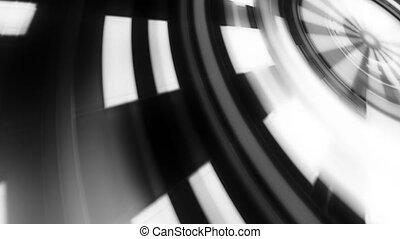 Black and white geometric science fiction shape loop -...