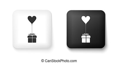 Black and white Gift with balloon in shape of heart icon isolated on white background. Valentine's day, wedding, birthday card. Square button. Vector