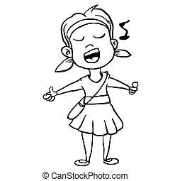 black and white girl sing cartoon