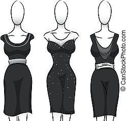 Black and White Girls Fashion Mannequin Dress