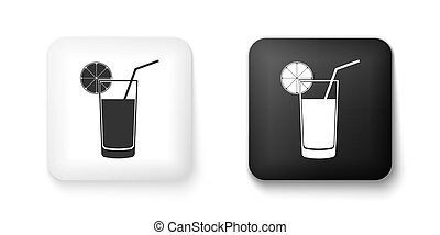 Black and white Glass of juice icon isolated on white background. Orange slice and tube for drinking. Healthy organic food. Square button. Vector