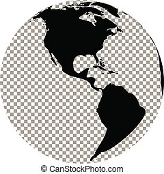 Black and white globe with transparent background