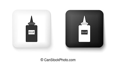 Black and white Glue icon isolated on white background. Square button. Vector