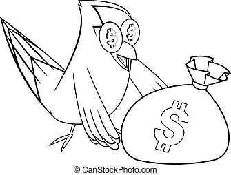 Black And White Goldfinch Bird Cartoon Character With Money Bag