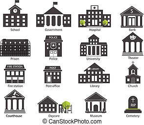 Black and white government buildings icons set in flat design style, vector illustration. Includes school, hospital, police, fire station, day care, university etc.