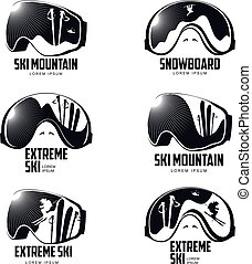 Black and white graphic mountain skier goggles logo template
