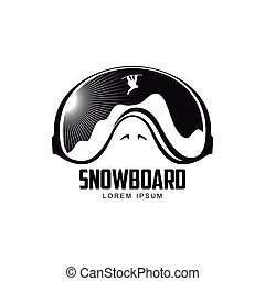 Black and white graphic mountain skiing goggles logo, vector illustration on white background. Mounting skiing logo design with skis, mountains and helicopter reflected in goggles, mask, glasses