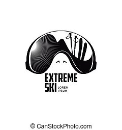 Black and white graphic mountain skiing goggles logo template