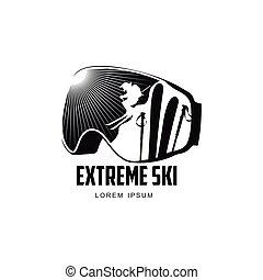 Black and white graphic mountain skiing goggles logo