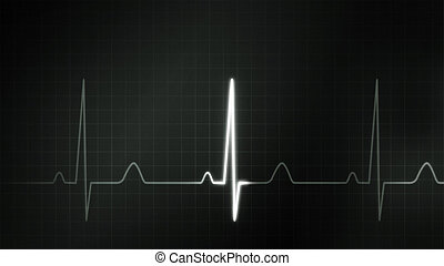 black and white graphic of EKG monitor - The graphic of EKG...
