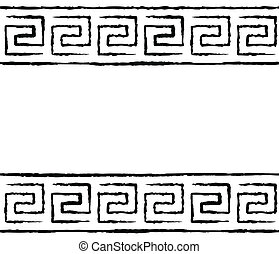 Black and white greek seamless pattern