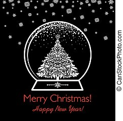 Black and white greeting card with globe and vintage cut out christmas tree