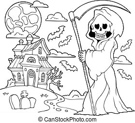 Black and white grim reaper theme 2 - eps10 vector...