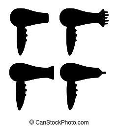 Black and white hairdryer silhouette set