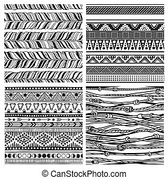Black and white hand drawn boho illustration. Set of Native American doodles. Textile print with Navajo tribal ornament. Vector creative art-work. Ink drawing in bohemian chic style