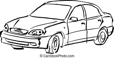 Black and white hand drawn car on white background,...