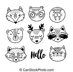 Black and white hand drawn doodle animal faces. Line art -...