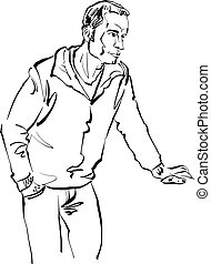 Black and white hand drawn illustration of a man.