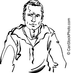 Black and white hand drawn illustration of a relaxed positive man.