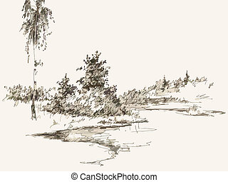 landscape - Black and white hand drawn landscape. Vector ...