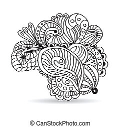 Black and white hand drawn ornament.