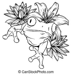 Black and white hand drawn ornate doodle frog in graphic style. Vector illustration with floral decorative ornament