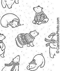 Black and white hand drawn Polar bears seamless pattern.