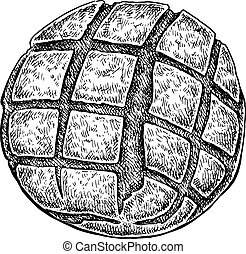 Black and white hand drawn sketch of a bread bun. Vector...