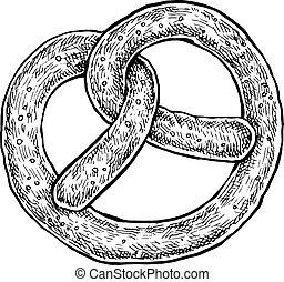 Black and white hand drawn sketch of a pretzel.