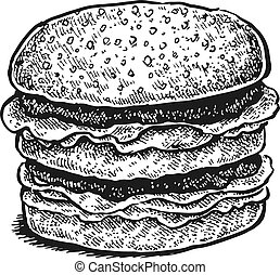 Black and white hand drawn sketchy sandwich.