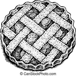 Black and white hand drawn vector illustration of an apple pie